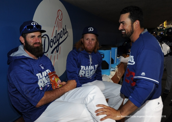 Los Angeles Dodgers Scott Van Slyke, Justin Turner and Adrian Gonzalez during game against the San Francisco Giants Friday, March 25, 2016 at Camelback Ranch-Glendale in Phoenix, Arizona