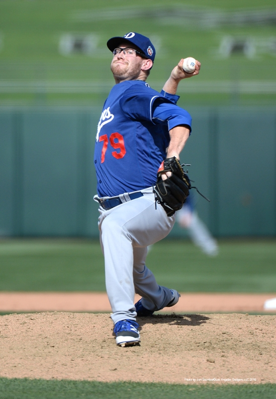 Los Angeles Dodgers Jacob Rhame pitches against the Texas Rangers Friday, March 4, 2016 at Surprise Recreation Campus in Surprise, Arizona.