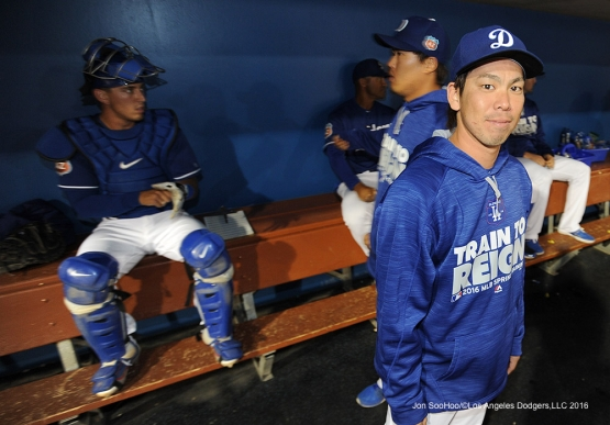 Los Angeles Dodgers Kenta Maeda in the dugout during game against the San Francisco Giants Friday, March 25, 2016 at Camelback Ranch-Glendale in Phoenix, Arizona