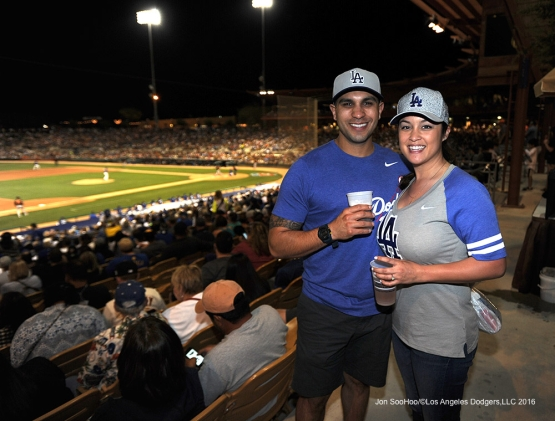 Great Los Angeles Dodgers fans during game against the San Francisco Giants Friday, March 25, 2016 at Camelback Ranch-Glendale in Phoenix, Arizona