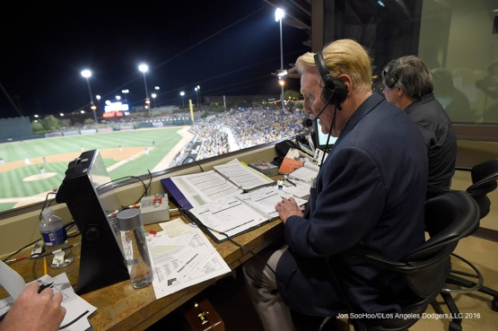 Los Angeles Dodgers Vin Scully during game against the San Francisco Giants Friday, March 25, 2016 at Camelback Ranch-Glendale in Phoenix, Arizona
