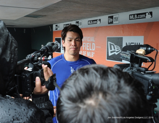 Los Angeles Dodgers Kenta Maeda speaks to the media prior to game against the San Francisco Giants Saturday, April 9, 2016 at AT&T Park in San Francisco,California. The Dodgers beat the Giants 3-2.