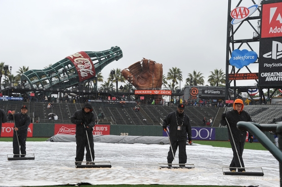 Rain delay prior to Los Angeles Dodgers game against the San Francisco Giants Saturday, April 9, 2016 at AT&T Park in San Francisco,California. The Dodgers beat the Giants 3-2.
