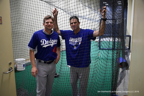 Los Angeles Dodgers Tim Hyers and Turner Ward prior to game against the San Diego Padres Monday, April 4, 2016 at Petco Park in San Diego,California. The Dodgers beat the Padres 15-0