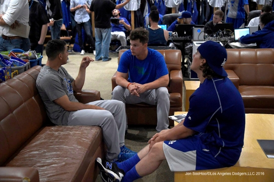 Los Angeles Dodgers Austin Barnes, Joc Pederson and Kike Hernandez prior to the game against the San Diego Padres Monday, April 4, 2016 at Petco Park in San Diego,California. The Dodgers beat the Padres 15-0