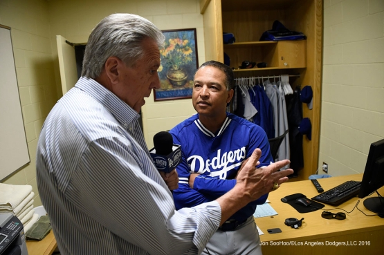 Los Angeles Dodgers Dave Roberts and Rick Monday prior to game against the San Diego Padres Monday, April 4, 2016 at Petco Park in San Diego,California. The Dodgers beat the Padres 15-0