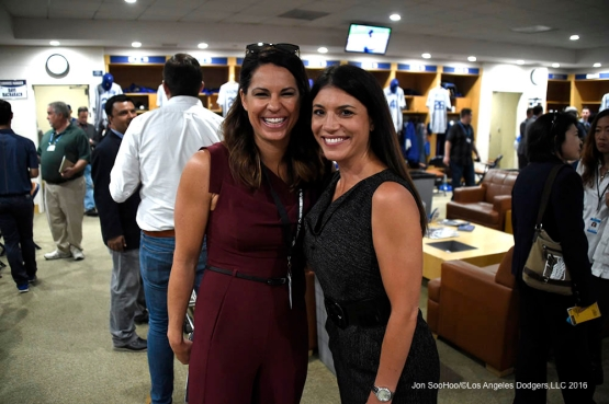 ESPN's Jessica Morales and SportsNetLA's Alanna Rizzo prior to game against the San Diego Padres Monday, April 4, 2016 at Petco Park in San Diego,California. The Dodgers beat the Padres 15-0