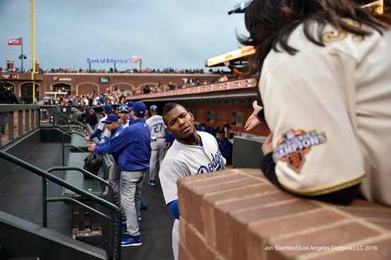 Los Angeles Dodgers during game against the San Francisco Giants Friday, April 8, 2016 at AT&T Park in San Francisco,California.