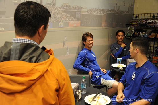 Los Angeles Dodgers relax during rain delay against the San Francisco Giants Saturday, April 9, 2016 at AT&T Park in San Francisco,California. The Dodgers beat the Giants 3-2.