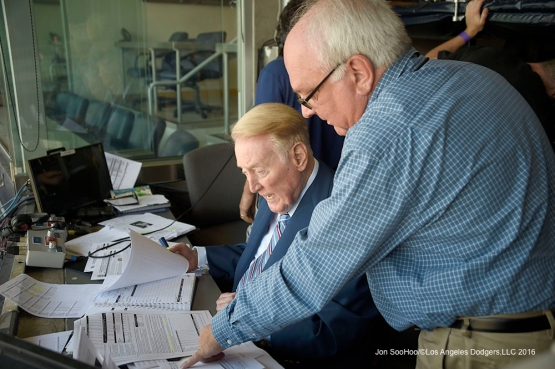 Los Angeles Dodgers Vin Scully prior to game against the San Diego Padres Monday, April 4, 2016 at Petco Park in San Diego,California. The Dodgers beat the Padres 15-0