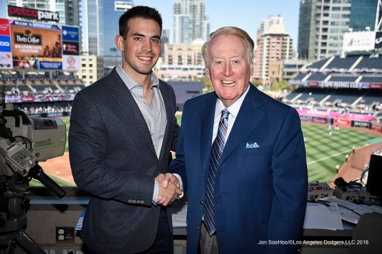 Los Angeles Dodgers Joe Davis and Vin Scully prior to game against the San Diego Padres Monday, April 4, 2016 at Petco Park in San Diego,California. The Dodgers beat the Padres 15-0