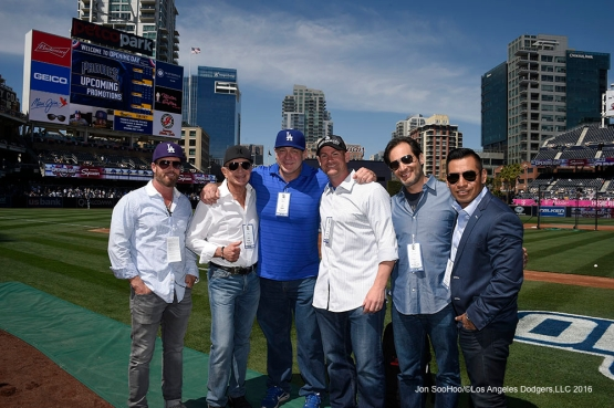 Scott Minard and guests prior to game during game against the San Diego Padres Monday, April 4, 2016 at Petco Park in San Diego,California. The Dodgers beat the Padres 15-0