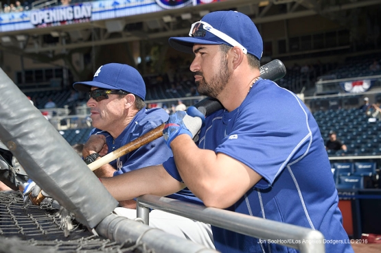 Los Angeles Dodgers Adrian Gonzalez and Turner Ward prior to game against the San Diego Padres Monday, April 4, 2016 at Petco Park in San Diego,California. The Dodgers beat the Padres 15-0