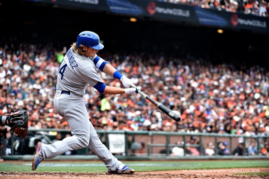 Los Angeles Dodgers Kike Hernandez doubles during game against the San Francisco Giants Saturday, April 9, 2016 at AT&T Park in San Francisco,California. The Dodgers beat the Giants 3-2.