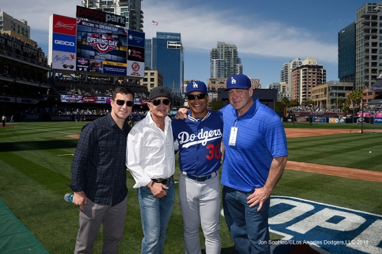 Andrew Friedman, Robert Shapiro, Dave Roberts and Scott Minard prior to game against the San Diego Padres Monday, April 4, 2016 at Petco Park in San Diego,California. The Dodgers beat the Padres 15-0