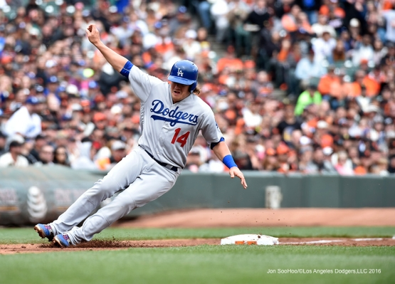 Los Angeles Dodgers Kike Hernandez at third during game against the San Francisco Giants Saturday, April 9, 2016 at AT&T Park in San Francisco,California. The Dodgers beat the Giants 3-2.