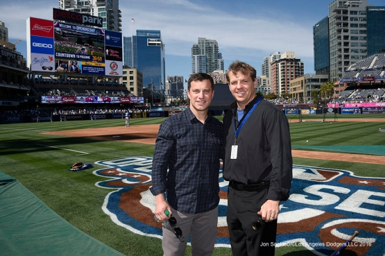 Los Angeles Dodgers Andrew Friedman and Todd Boehly pose prior to game against the San Diego Padres Monday, April 4, 2016 at Petco Park in San Diego,California. The Dodgers beat the Padres 15-0
