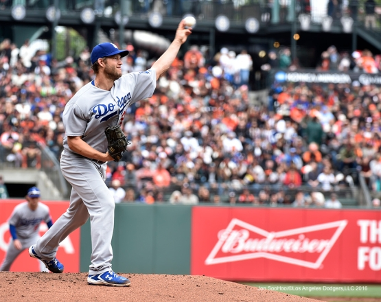 Los Angeles Dodgers Clayton Kershaw pitches against the San Francisco Giants Saturday, April 9, 2016 at AT&T Park in San Francisco,California. The Dodgers beat the Giants 3-2.