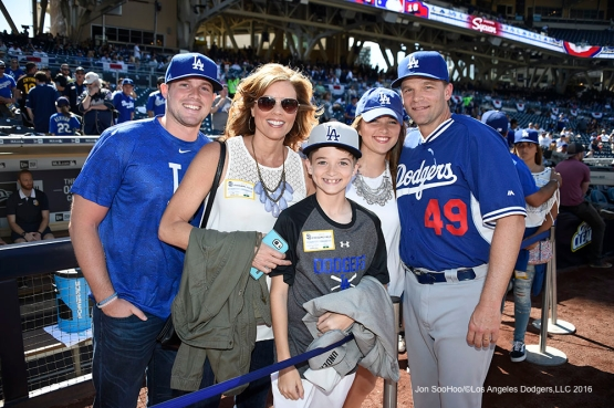 Los Angeles Dodgers coach Tim Hyers and family pose prior to game against the San Diego Padres Monday, April 4, 2016 at Petco Park in San Diego,California. The Dodgers beat the Padres 15-0