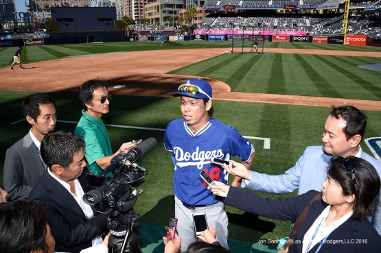 Los Angeles Dodgers Kenta Maeda speaks to the media prior to game against the San Diego Padres Monday, April 4, 2016 at Petco Park in San Diego,California. The Dodgers beat the Padres 15-0