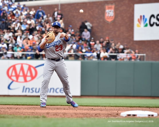 Los Angeles Dodgers Adrian Gonzalez throws to first during game against the San Francisco Giants Saturday, April 9, 2016 at AT&T Park in San Francisco,California. The Dodgers beat the Giants 3-2.