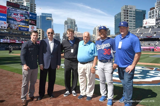 Los Angeles Dodgers Andrew Friedman, Stan Kasten, Todd Boehly, Tommy Lasorda, Dave Roberts and Scott Minard prior to game against the San Diego Padres Monday, April 4, 2016 at Petco Park in San Diego,California. The Dodgers beat the Padres 15-0