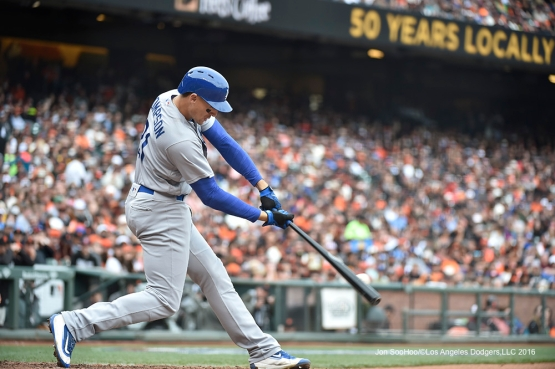 Los Angeles Dodgers Trayce Thompson doubles against the San Francisco Giants Saturday, April 9, 2016 at AT&T Park in San Francisco,California. The Dodgers beat the Giants 3-2.