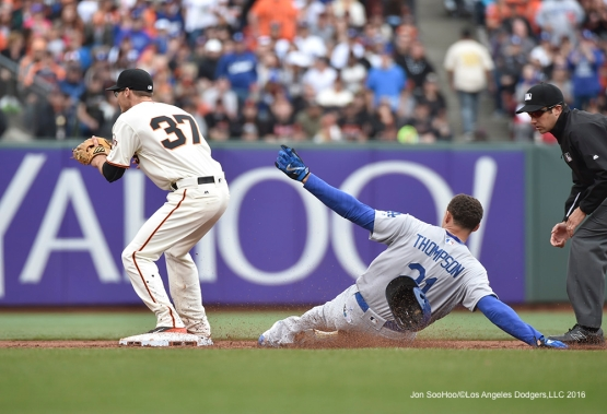 Los Angeles Dodgers Trayce Thompson slides into second against the San Francisco Giants Saturday, April 9, 2016 at AT&T Park in San Francisco,California. The Dodgers beat the Giants 3-2.