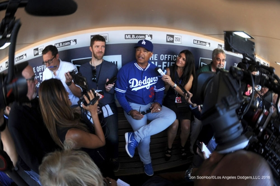 Los Angeles Dodgers Dave Roberts speaks to the media prior to game against the San Diego Padres Monday, April 4, 2016 at Petco Park in San Diego,California. The Dodgers beat the Padres 15-0