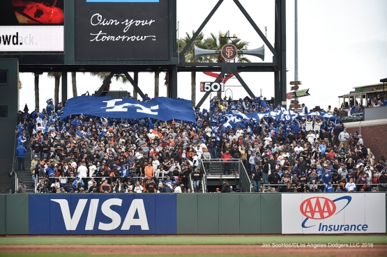 Great Los Angeles Dodgers fans during game against the San Francisco Giants Saturday, April 9, 2016 at AT&T Park in San Francisco,California. The Dodgers beat the Giants 3-2.