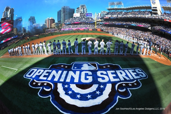 Los Angeles Dodgers on the line prior to opening game against the San Diego Padres Monday, April 4, 2016 at Petco Park in San Diego,California. The Dodgers beat the Padres 15-0