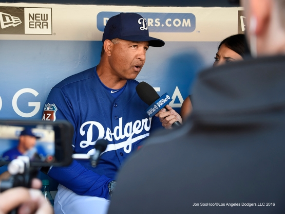 Los Angeles Dodgers Dave Roberts addresses the media prior to game against the Los Angeles Angels of Anaheim Thursday, March 31,2016 at Dodger Stadium in Los Angeles,California.