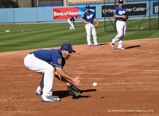 Los Angeles Dodgers Rob Segedin prior to  game against the Los Angeles Angels of Anaheim Thursday, March 31,2016 at Dodger Stadium in Los Angeles,California.