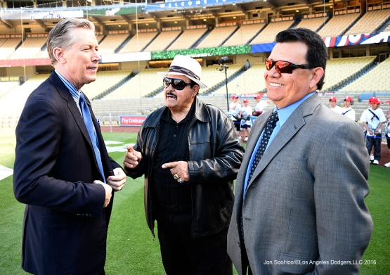 Orel Hershiser, Mike Brito and Fernando Valenzuela pose prior to  during game against the Los Angeles Angels of Anaheim Thursday, March 31,2016 at Dodger Stadium in Los Angeles,California.