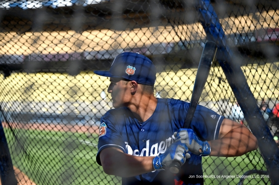 Los Angeles Dodgers Corey Seager hits prior to game against the Los Angeles Angels of Anaheim Thursday, March 31,2016 at Dodger Stadium in Los Angeles,California.