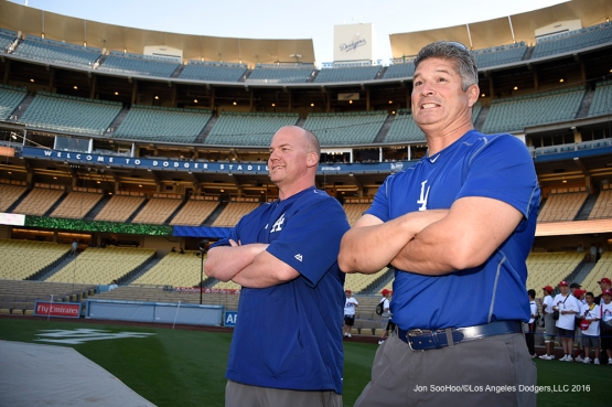 Los Angeles Dodgers head trainer Neil Rampe and assistant trainer Nathan Lucero prior to game against the Los Angeles Angels of Anaheim Thursday, March 31,2016 at Dodger Stadium in Los Angeles,California.