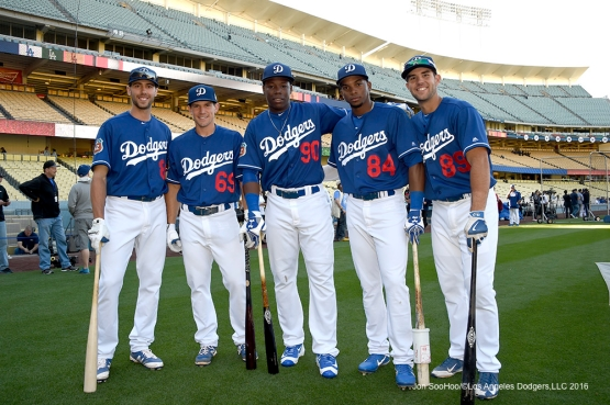 Los Angeles Dodgers prior to game against the Los Angeles Angels of Anaheim Thursday, March 31,2016 at Dodger Stadium in Los Angeles,California.