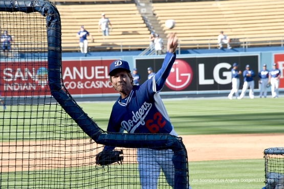 Los Angeles Dodgers  Pete Bonfils throws batting practice prior to game against the Los Angeles Angels of Anaheim Thursday, March 31,2016 at Dodger Stadium in Los Angeles,California.