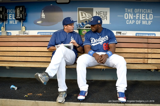 Los Angeles Dodgers Turner Ward with Yasiel Puig prior to game against the Los Angeles Angels of Anaheim Thursday, March 31,2016 at Dodger Stadium in Los Angeles,California.