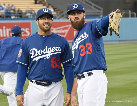 Los Angeles Dodgers Rob Segedin and Scott Van Slyke prior to game against the Los Angeles Angels of Anaheim Thursday, March 31,2016 at Dodger Stadium in Los Angeles,California.