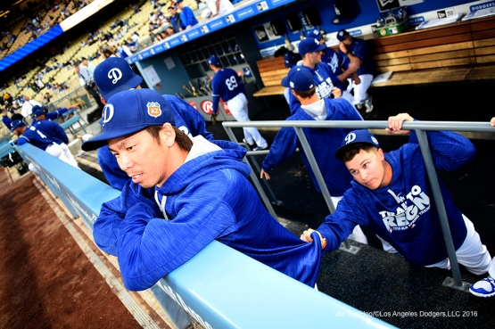 Los Angeles Dodgers Kenta Maeda and Joc Pederson prior to game against the Los Angeles Angels of Anaheim Thursday, March 31,2016 at Dodger Stadium in Los Angeles,California.