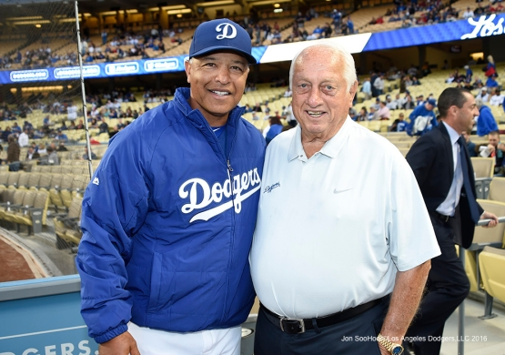 Los Angeles Dodgers Dave Roberts and Tommy Lasorda prior to game against the Los Angeles Angels of Anaheim Thursday, March 31,2016 at Dodger Stadium in Los Angeles,California.