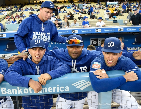 Los Angeles Dodgers Austin Barnes, Carl Crawford and Trayce Thompson prior to game against the Los Angeles Angels of Anaheim Thursday, March 31,2016 at Dodger Stadium in Los Angeles,California.