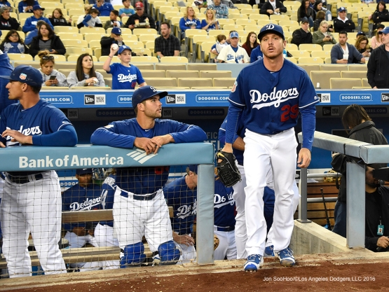 Los Angeles Dodgers Scott Kazamir takes the field during game against the Los Angeles Angels of Anaheim Thursday, March 31,2016 at Dodger Stadium in Los Angeles,California.