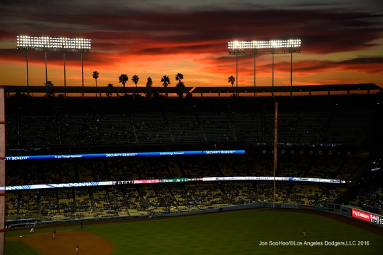 Sunset during Los Angeles Dodgers game against the Los Angeles Angels of Anaheim Thursday, March 31,2016 at Dodger Stadium in Los Angeles,California.