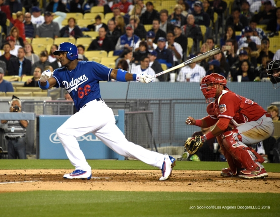 Los Angeles Dodgers during game against the Los Angeles Angels of Anaheim Thursday, March 31,2016 at Dodger Stadium in Los Angeles,California.