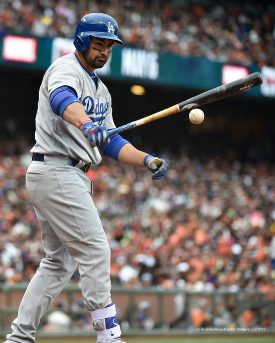 Los Angeles Dodgers Adrian Gonzalez during game against the San Francisco Giants Saturday, April 9, 2016 at AT&T Park in San Francisco,California. The Dodgers beat the Giants 3-2.