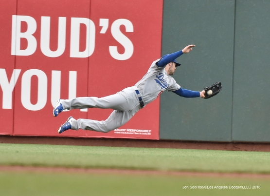 Los Angeles Dodgers Charlie Culbertson runs down fly ball during game against the San Francisco Giants Saturday, April 9, 2016 at AT&T Park in San Francisco,California. The Dodgers beat the Giants 3-2.