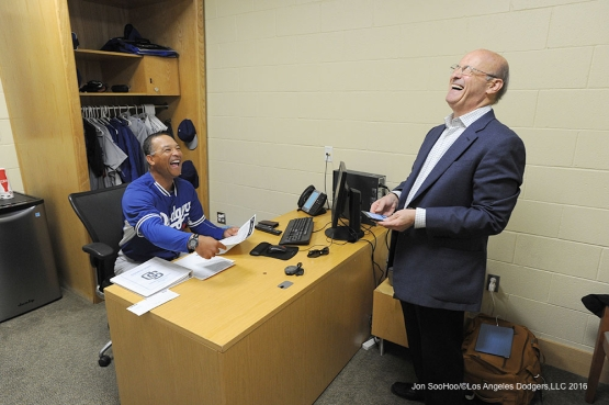 Los Angeles Dodgers Dave Roberts and Stan Kasten prior to game against the San Diego Padres Monday, April 4, 2016 at Petco Park in San Diego,California. The Dodgers beat the Padres 15-0