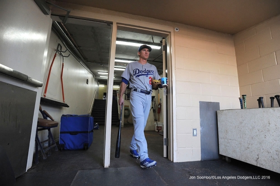 Los Angeles Dodgers Chase Utley heads to the field prior to game against the San Diego Padres Monday, April 4, 2016 at Petco Park in San Diego,California. The Dodgers beat the Padres 15-0